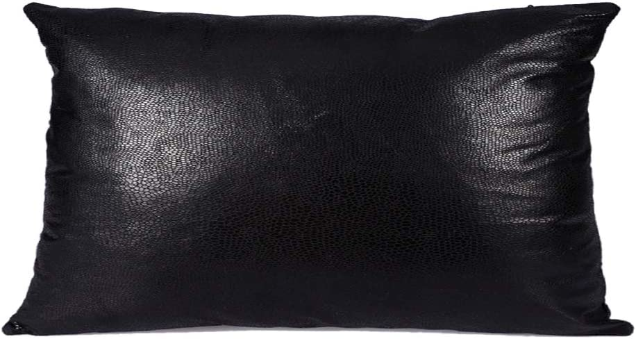 HiiARug Decorative Lumbar Pillow Cover for Couch, Faux Leather Cushion Cover Durable Pillow Case Invisible Zipper for Office Home Bedside Car Rectangular 12x20 Inch (Black)