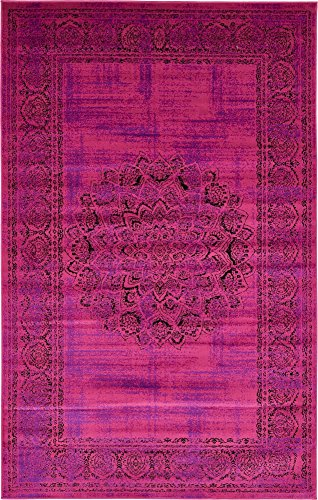 Unique Loom Imperial Collection Modern Traditional Vintage Distressed Fuchsia Area Rug (5' 0 x 8' - Rug Fuschia 8' Area