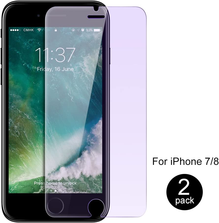 iPhone 8 / iPhone 7/iPhone SE 2nd Generation Screen Protector by ICONFLANG, Anti Blue Light [Eye Protect] 2 Pack 9H Hardness 3D Touch Shockproof Anti-Scratch, Tempered Glass for iPhone 7/8