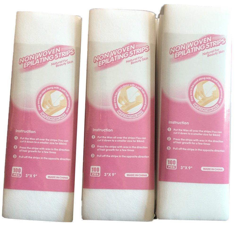 Jebblas Professional Leg Hair 300 Strips Removal Wax Strip Paper Depilatory Nonwoven Epilator Non Woven Facial and Body Wax Large 3''x9'' Body and Facial Wax Strips