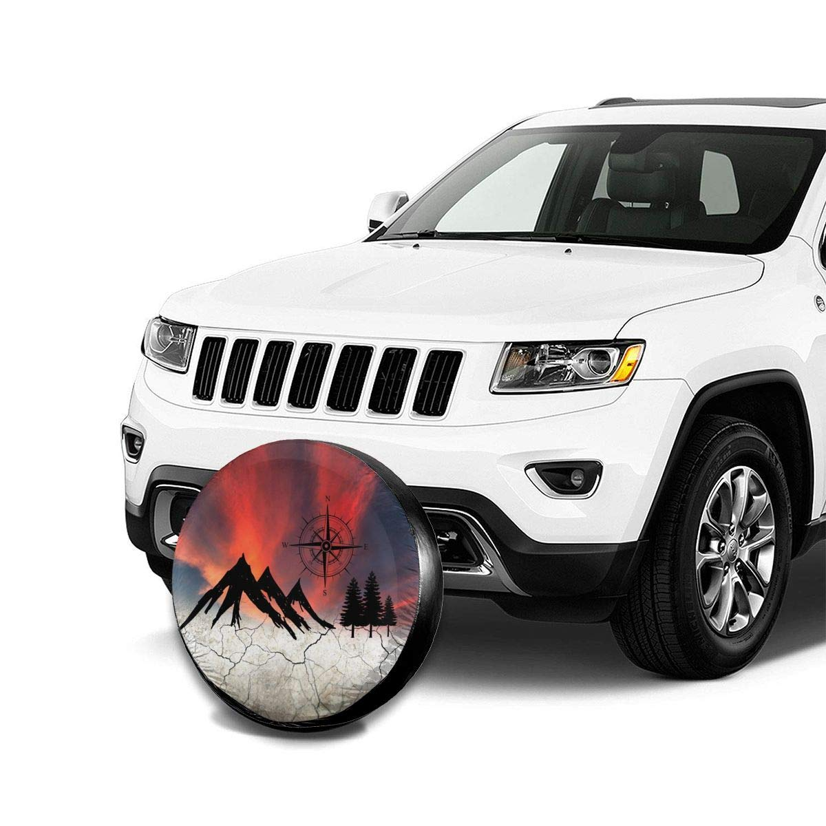 Deaowangluo Spare Tire Cover Jeep Mountain Compass Nature Camper Camping Trailer Truck RV SUV Covers Travel Universal 15 Inch