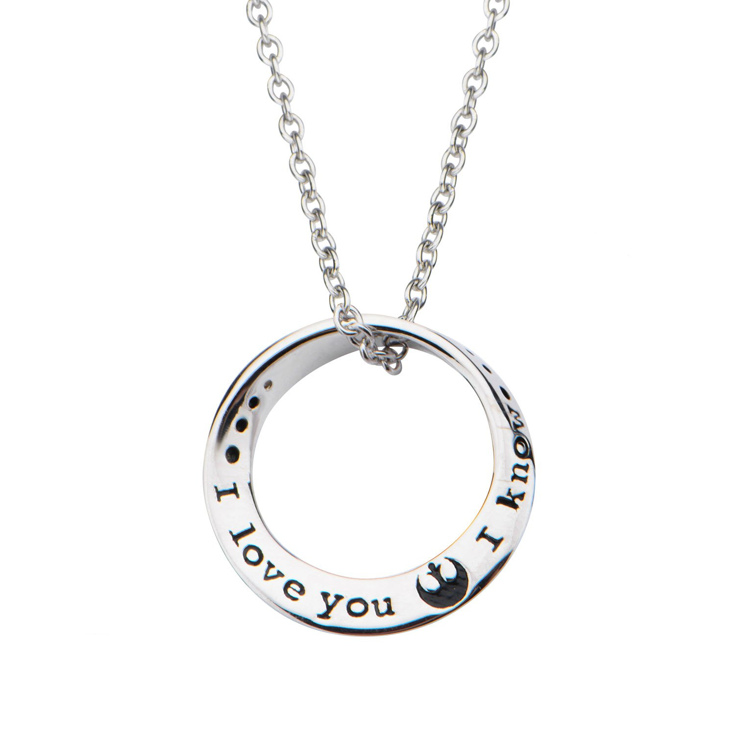 Superheroes Brand Star Wars Quote I Love You. I Know. Mobius 925 Sterling Silver Pendant Necklace w/Gift Box