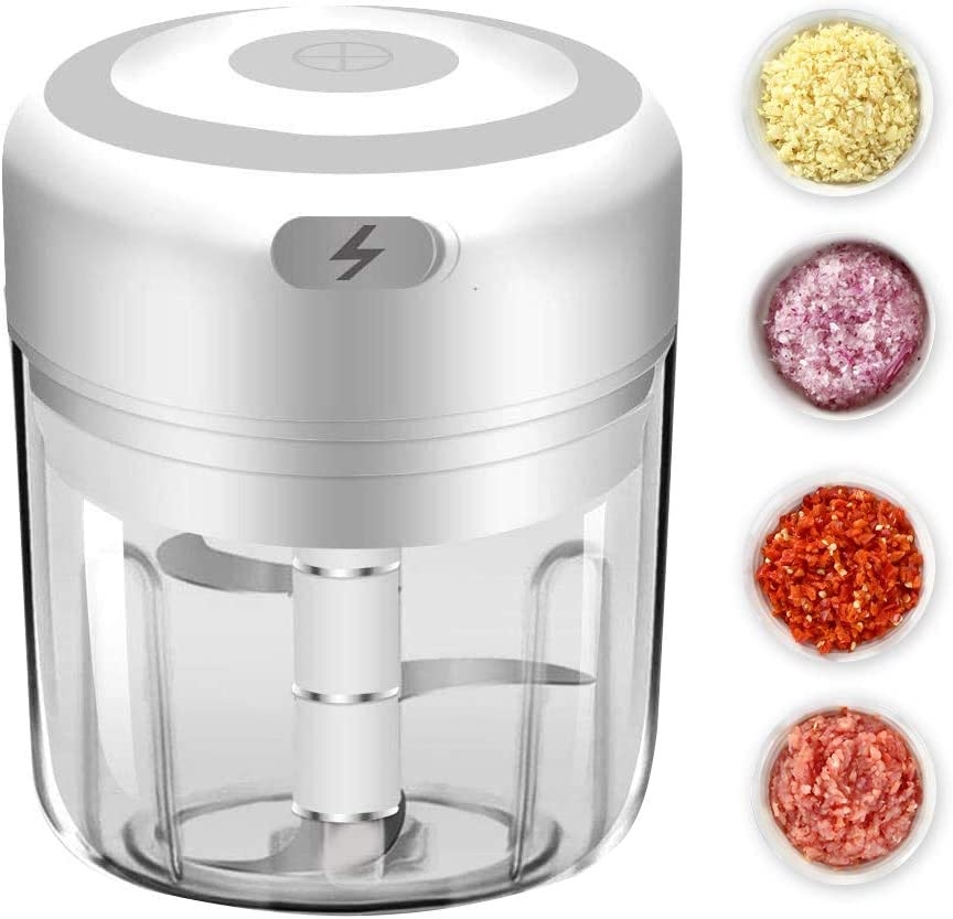 Electric Mini Garlic Chopper, Food Processor Mincer Blender Mixer, Portable Garlic Blender Mini Chopper Food Processor For Pepper Chili Vegetable Nuts Meat (White 250ml)