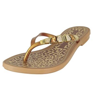 6bf820451d41 GRENDENE Jewel THO Gold Womens Flip-Flops Size 6M