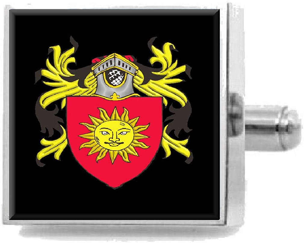 Select Gifts Hirst England Family Crest Surname Coat Of Arms Cufflinks Personalised Case