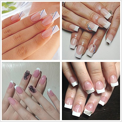 Review ECBASKET French Nail Tips Acrylic False Artificial Nail Tips For Nail Art 10 Sizes With Bags