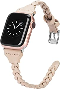 Wearlizer Compatible with Apple Watch Band 38mm iWatch Bands 40mm Plait Style Slim Leather Replacement Wrist Band for Apple Watch SE Series 6 5 4 3 2 1 - Beige
