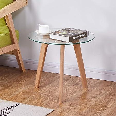 Goldfan Table D Appoint Ronde En Verre Bout De Canapé Table De Café Petite Table Basse En Bois De Salon Avec Hêtre Pieds Design Scandinave 50x50x45