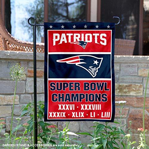 WinCraft New England Patriots Six Time Super Bowl Champions Garden Flag (New England Patriots Wall Border)