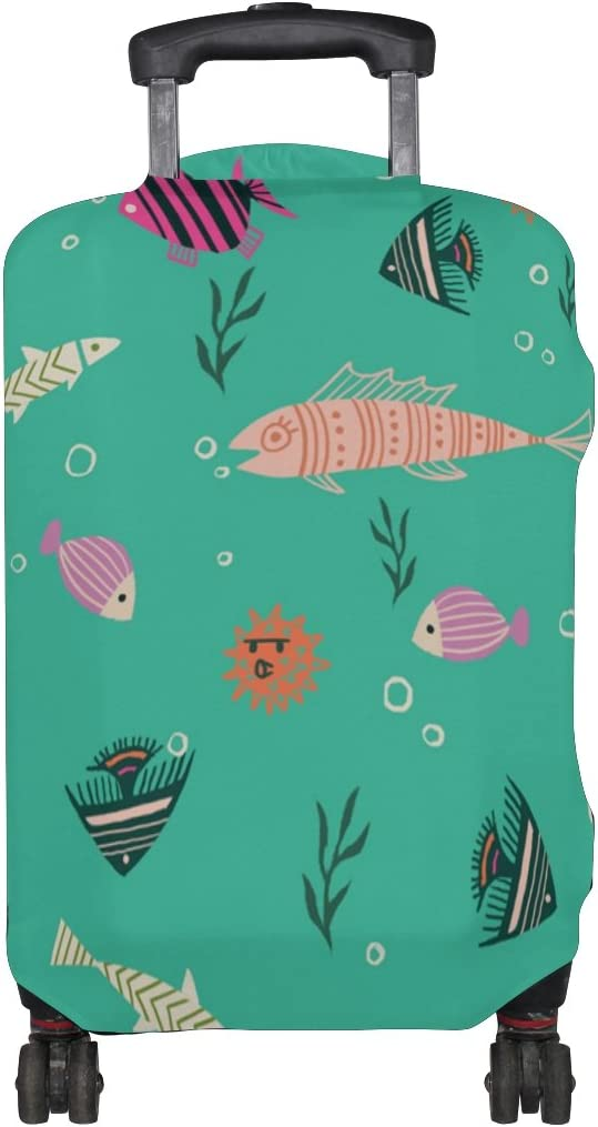 LEISISI Cartoon Fish Luggage Cover Elastic Protector Fits XL 29-32 in Suitcase