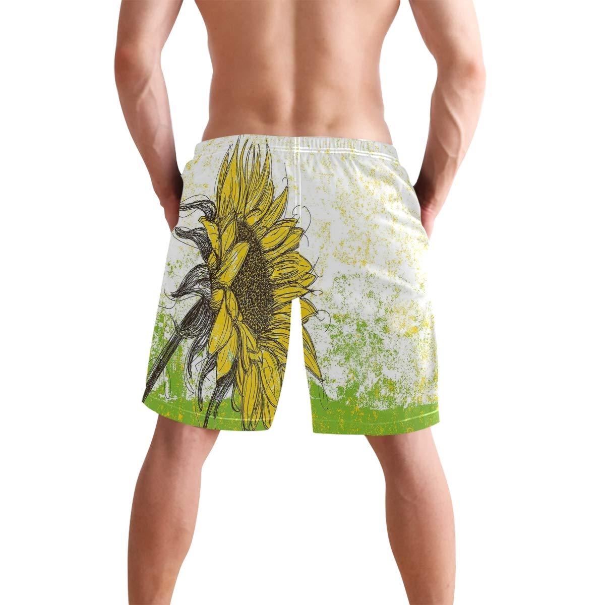 COVASA Mens Summer ShortsFloral Print with Sunflowers Field Summer Garden Sket