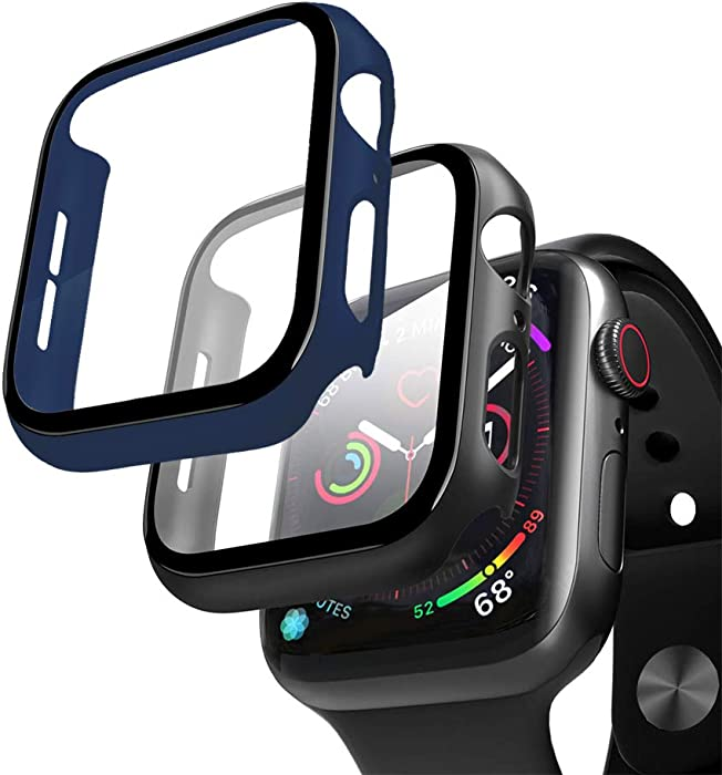 XFEN 2 Packs Hard Case for Apple Watch Series 6/5/4 and Apple Watch SE 44mm with Tempered Glass Screen Protector, Matte Hard PC Case Slim Overall Protective Cover (Black + Navy Blue, 44mm)