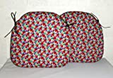 Zippy (TWIN PACK) Spindle Pad- Floral Cotton Print - Small dining chair cushion seat - 38cms x 37cms