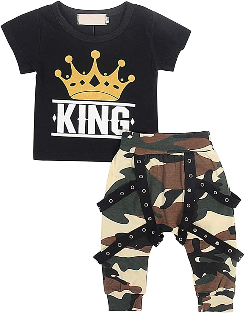 AmzBarley Baby Boy Outfits Set Letter Printed Top+Pants Clothing Set Toddler Casual Clothes