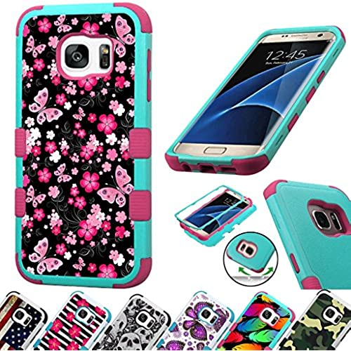 For Samsung Galaxy S7 Edge G935 Case 3-Layer Armor Hybrid Rugged Silicone Phone Cover FancyGuard (Pink Butterfly Sales