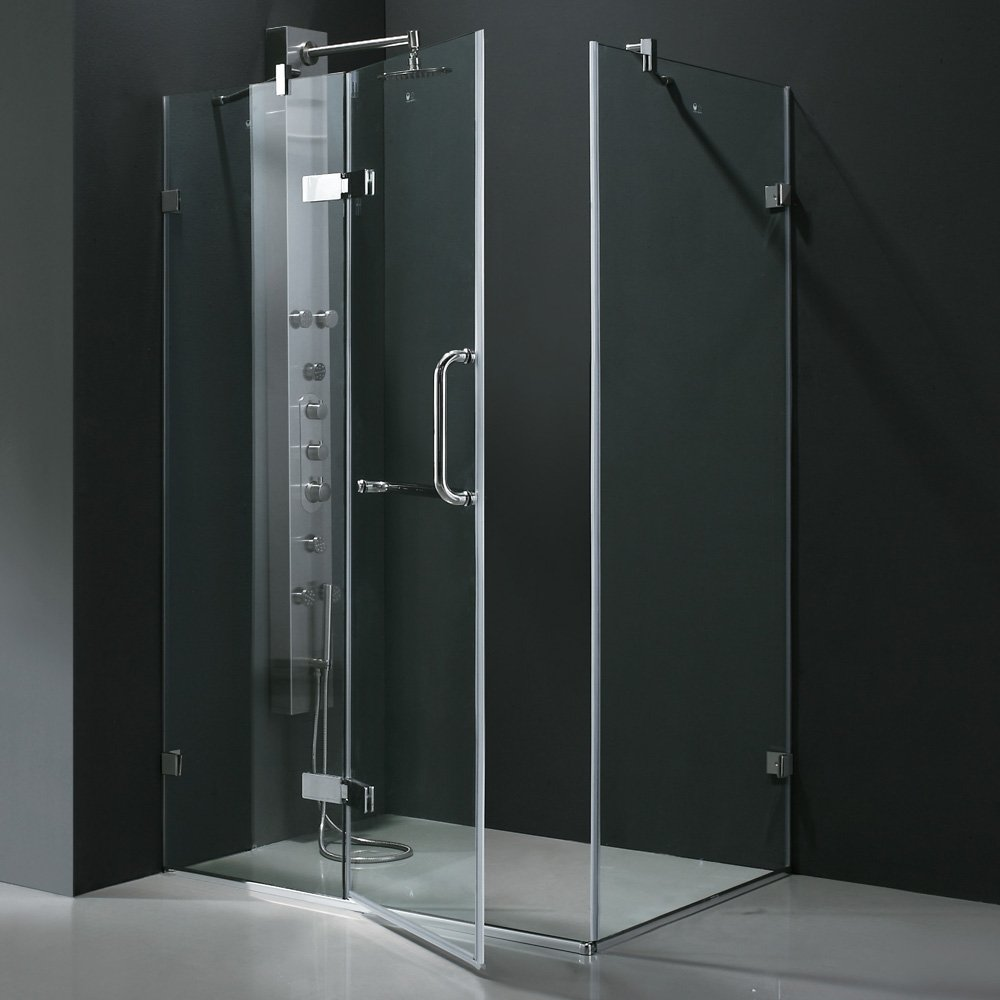 VIGO Monteray 32 x 48-in. Frameless Shower Enclosure with .375-in ...