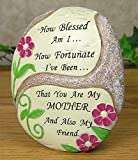 BANBERRY DESIGNS Mom Plaque - Desktop Plaque with a Flower Design - How Blessed Am I. How Fortunate I've Been. That You Are My Mother and Also My Friend