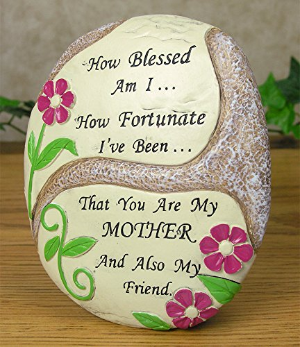 Mom Plaque - Desktop Plaque with a Flower Design - How Blessed Am I.. How Fortunate I've Been... That You Are My Mother and Also My Friend