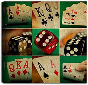 Artsbay Vintage Canvas Wall Art Poker Cards Dice Painting Conceptual Picture Retro Bar Club Decor Stretched and Framed Artwork Giclee Print