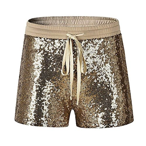 Grazioso Hot Oro Vita Paillettes Eleganti Bello Brillantini Clubwear Con Slim Pantaloncini Moda Fashion Party Coulisse Fit Pants Corti Donna Elastica Shorts RxX4z7