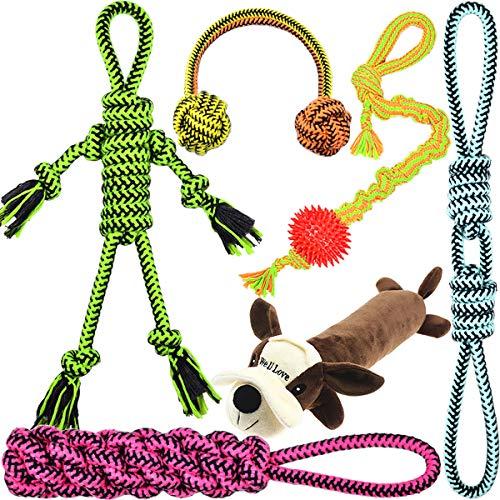 Upgrade-Version-Well-Love-Dog-Toys-Chew-Toys-100-Natural-Cotton-Rope-Squeak-Toys-Dog-Balls-Dog-Bones-Plush-Dog-Toy-Dog-Ropes-Tug-of-War-Ball-Toys-for-Dog-6pack-Set