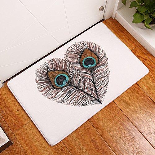 YJ Bear Thin Peacock Feather Pattern Print Floor Mat Coral Fleece Home Decor Carpet Indoor Rectangle Doormat Kitchen Floor Runner 20