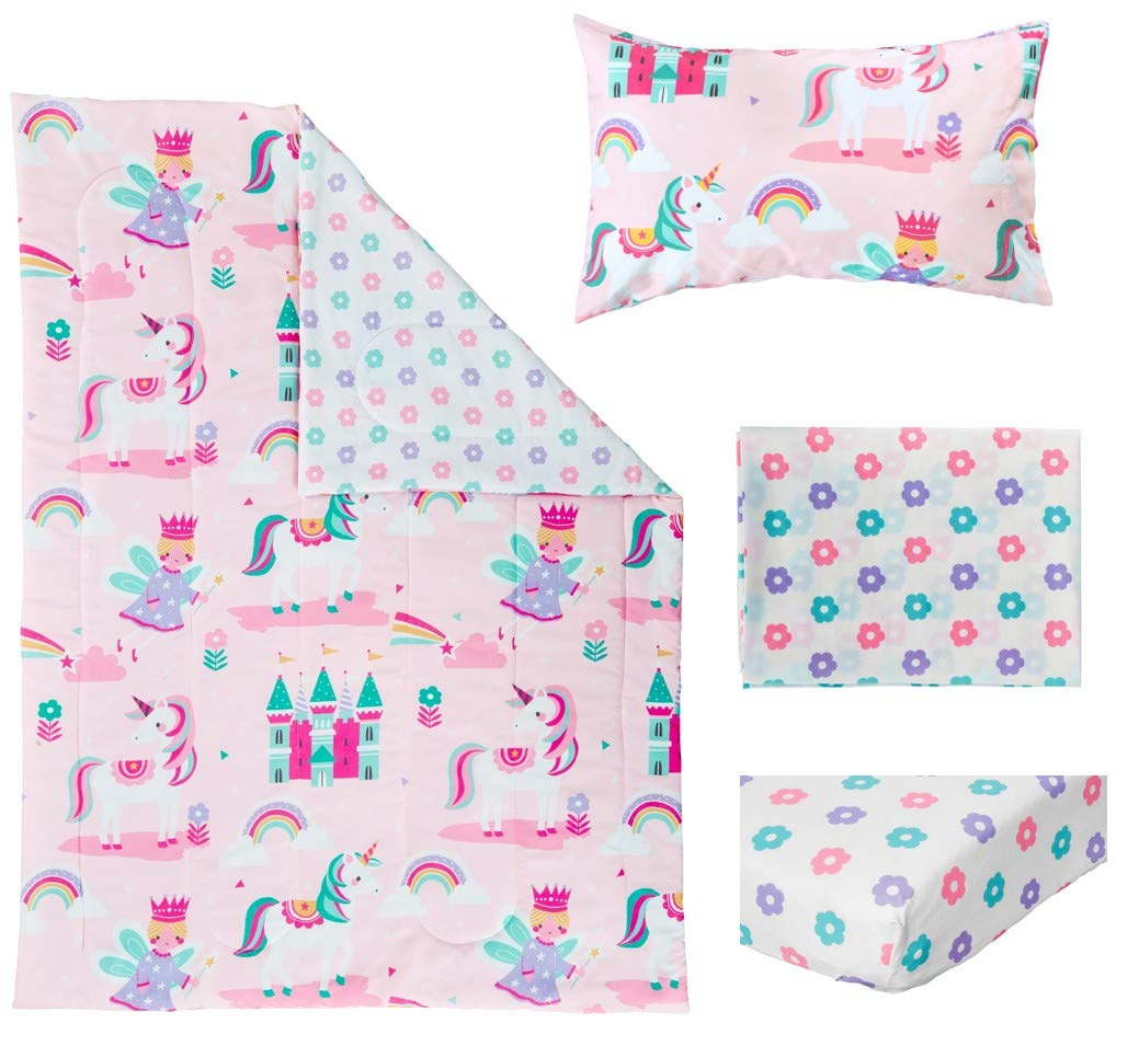Bloomsbury Mill - 4 Piece Toddler Comforter Set - Magic Unicorn, Fairy Princess & Enchanted Castle - Pink - Kids Bedding Set 4