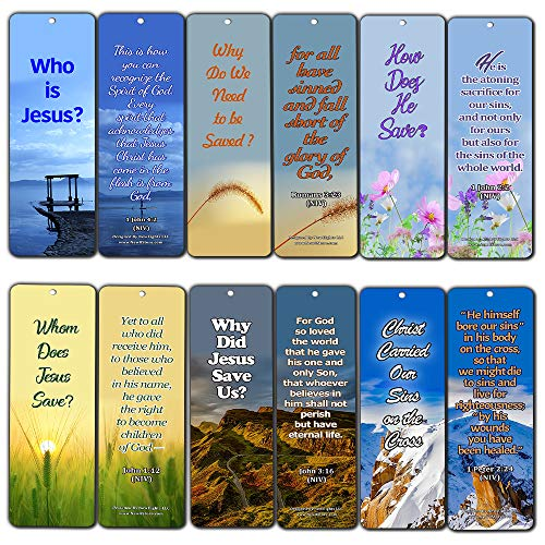Gospel Scriptures Bookmarks Cards (30 Pack) - Powerful Bible Verses John 3:16 1 Peter 2:24 - Basket Stuffers for Easter Thanksgiving Christmas Sunday School Evangelism Mission Trip Cell Group