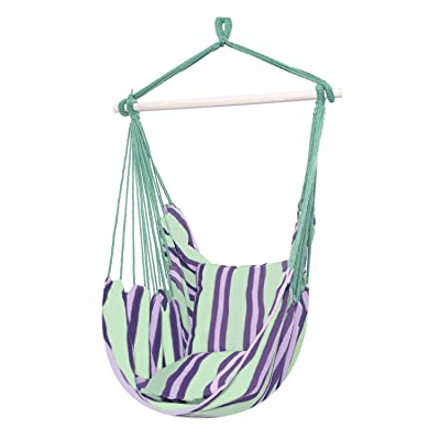 Hommo Hanging Rope Hammock Chair Swing Seat, Large Brazilian Hammock Net Chair Porch Chair for Indoor or Outdoor Patio, Yard, Porch, and Bedroom - 2 Seat Cushions Included: Garden & Outdoor
