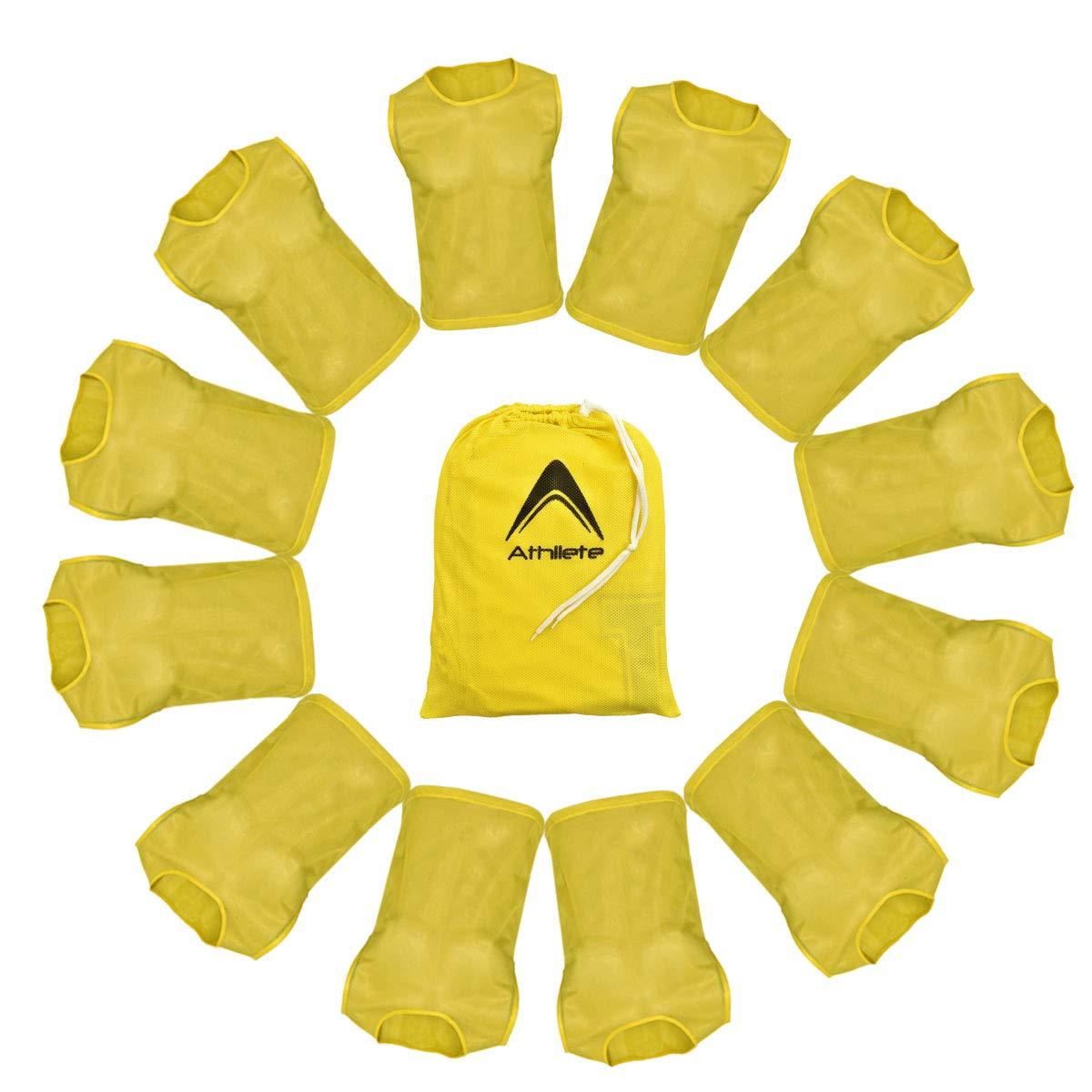 のセット12- Scrimmage Vest with FREE Carryバッグ。 B0793LGK91 ゴールデンイエロー XX-Large