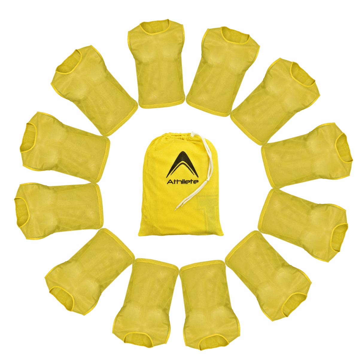 Athllete Set of 12- Scrimmage Vest/Pinnies/Team Practice Jerseys with Free Carry Bag. Sizes for Children, Youth, Adult and Adult XXL (Golden Yellow, XX-Large) by Athllete