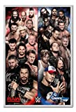WWE Raw V Smackdown Poster Silver Framed & Satin Matt Laminated - 96.5 x 66 cms (Approx 38 x 26 inches)
