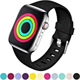 Laffav Compatible with Apple Watch Band 40mm 38mm 44mm 42mm for Women/Men, Soft Sport Bands Strap Accessory for iWatch Apple Watch Series 4 3 2 1, S/M M/L