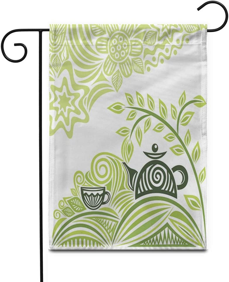 """Awowee 28""""x40"""" Garden Flag Gray Leaf Green Tea Cafeteria Mint Coffee Aroma Beverage Outdoor Home Decor Double Sided Yard Flags Banner for Patio Lawn"""