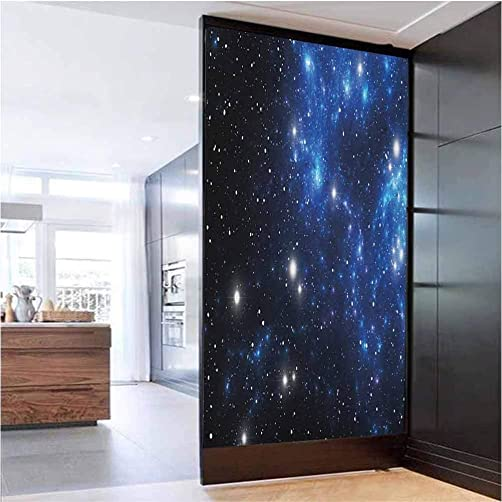 W 35.4 x L 78.7 Office Privacy Glass Film Static Cling Window Glass Sticker for Home,Outer Space Star Nebula Astral Cluster Astronomy Theme Galaxy Mystery Blue Black White
