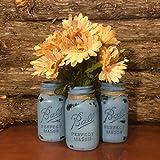 vintage ball jar blue - Rustic Blue Mason Jars, Vintage Ball Mason Jars, Rustic Mason Jar Centerpiece,