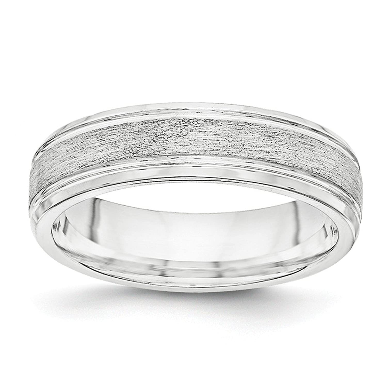 Sonia Jewels Sterling Silver 6mm Brushed Fancy Wedding Band