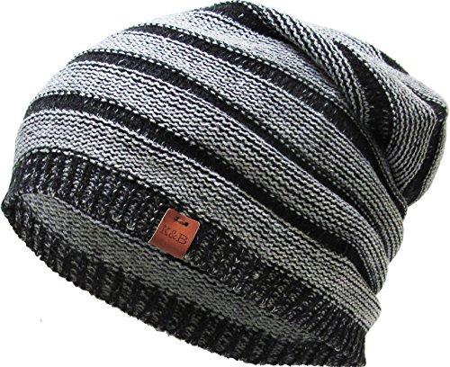 KBW-267 BLK Lightweight Striped Slouchy Beanie Skull Cap Hat (Boys Beanie)