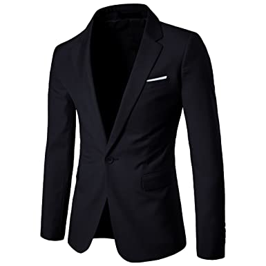 412a9e00c6f YIMANIE Men s Blazer Slim Fit Casual Suit Coat One Button Business Lapel  Suit Jacket