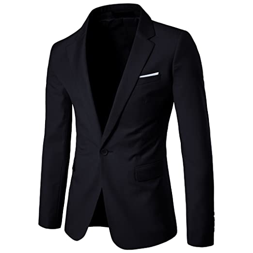 cdd41974fc83d Men's Suit Jacket One Button Slim Fit Sport Coat Business Daily Blazer