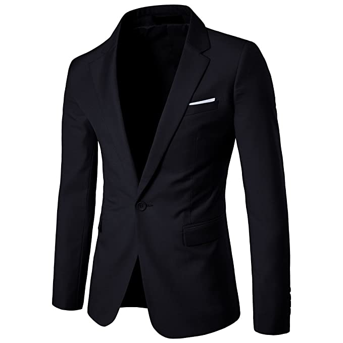 Mens Suit Jacket One Button Slim Fit Sport Coat Business Daily Blazer