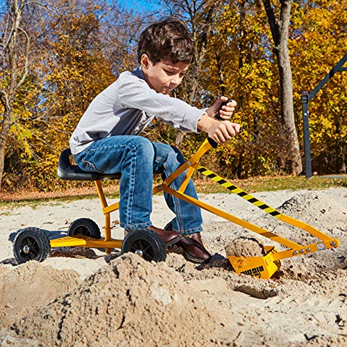 Reeves International The Big Dig and Roll Ride-On Working Excavator with Wheels, Sandbox Excavator with 360° Rotation, Great for Sand, Dirt and Snow, Steel Outdoor Play Toy