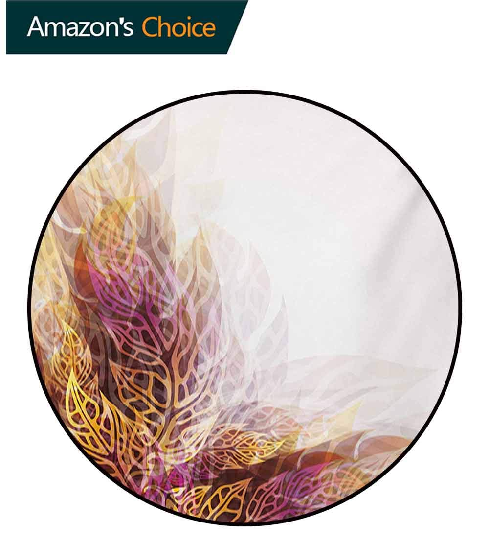 RUGSMAT Modern Art Modern Vintage Rugs,Psychedelic Floral with Blurry Leaf Visuals and Dynamic Effects Expressionist Area Rug - Perfect for Any Place,Diameter-71 Inch Yellow Purple by RUGSMAT (Image #2)