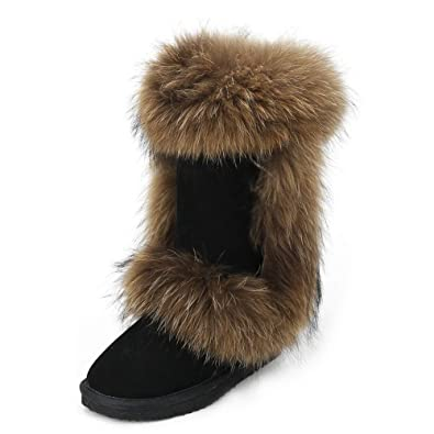 16149416ca3 INOE Fox Fur Women High Winter Snow Boots Black Size 5. Roll over image to  zoom in