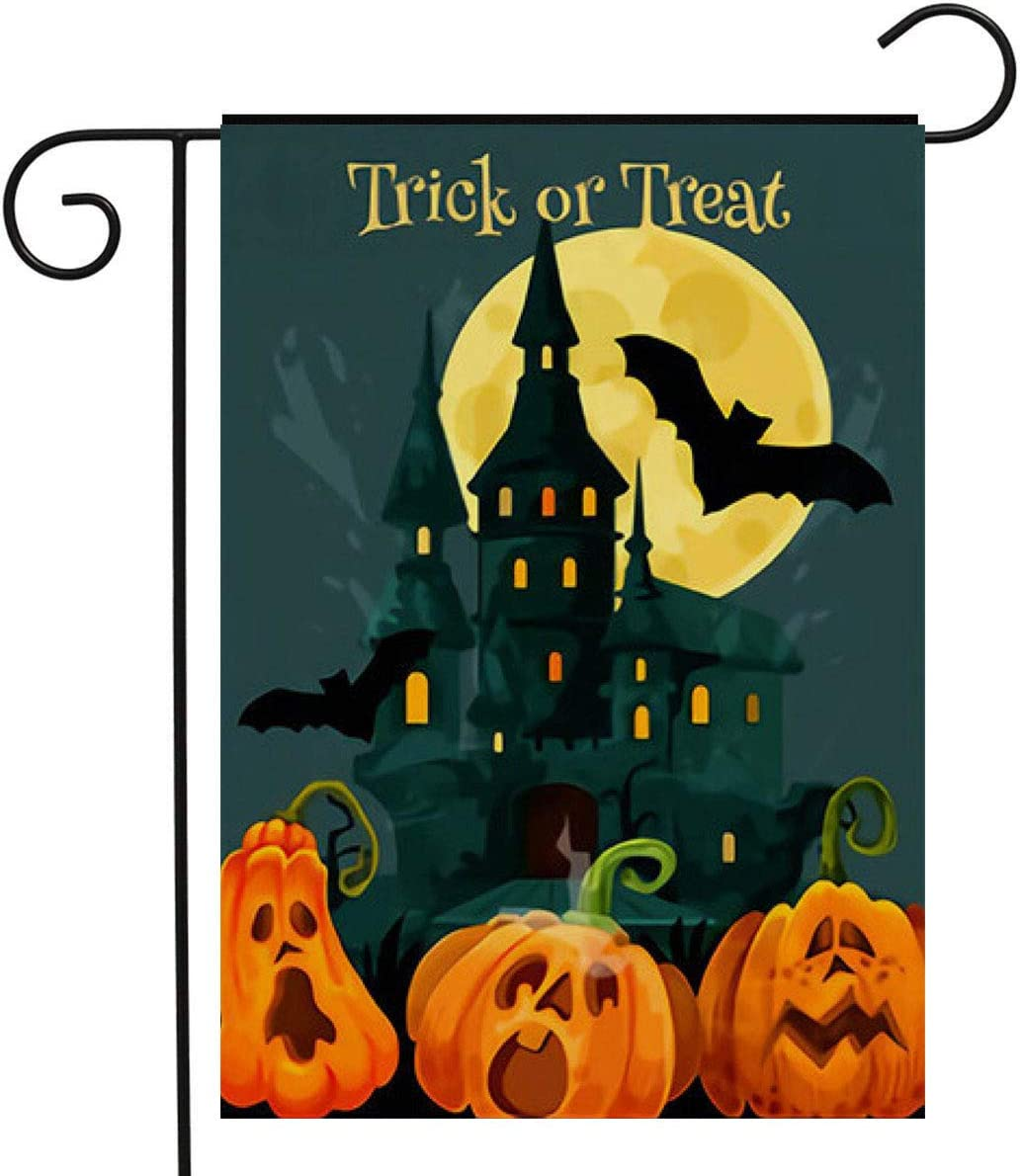 Splash Brothers Customized Happy Halloween Garden Flag Vertical Double Sided, Scary Spooky Castle Pumpkin Face Ghost Bat Yard Outdoor Lawn Decorations Garden Flag 12.5 x 18 Inch (Halloween Set 5)