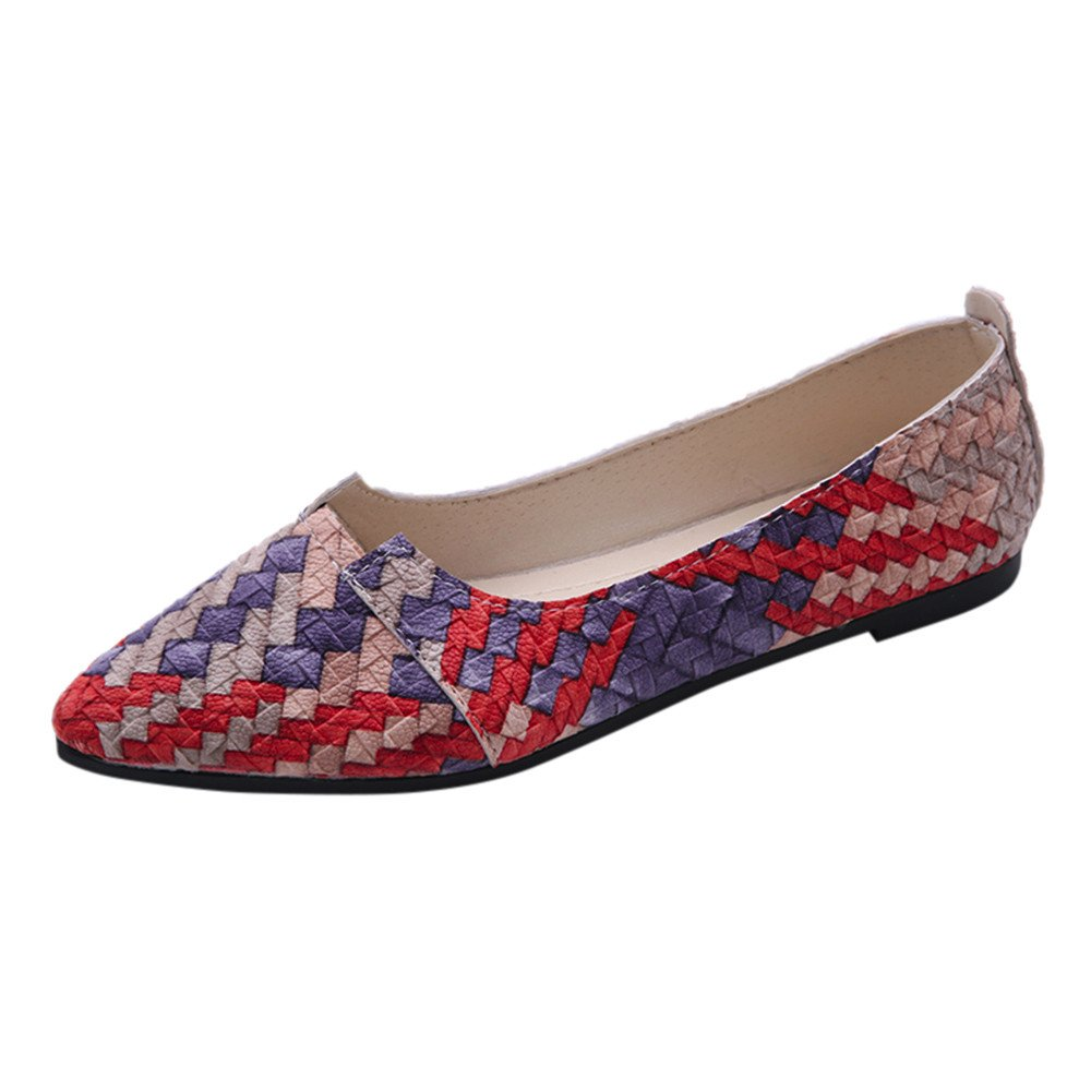 Nevera Fashion Flats Women's Classic Multicolor Slip-On Shoes Loafers Red