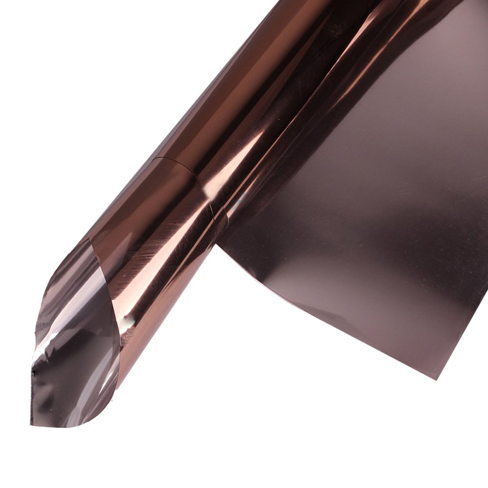 HOHO Static Reflective Solar Window Film Tint Stickers Anti UV Heat Control for Home Building Glass,Brown,152cmx300cm