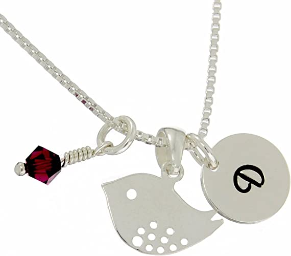 sterling silver initial and birthstone necklace personalised letter and birth crystal on chain necklace