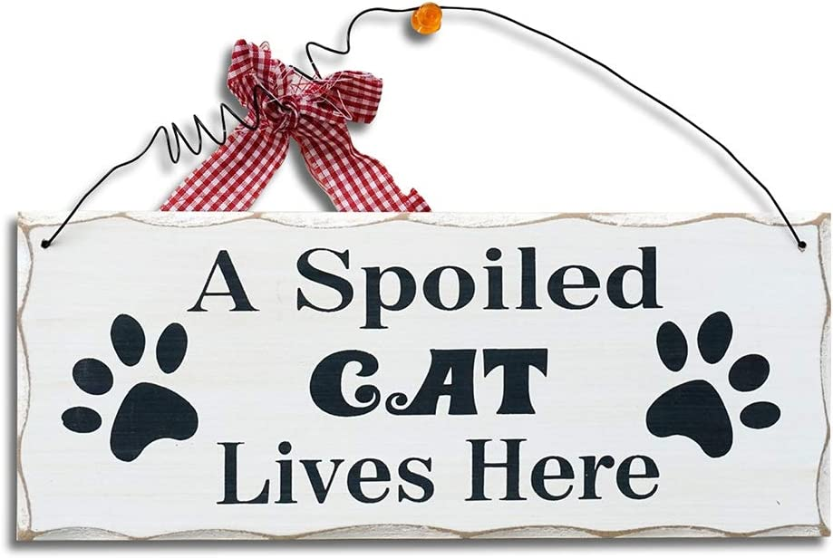 Wood Cat Sign Decor Cat Lover Sign, Hanging Pet Sign for Home Decor, Decorative Plaque Funny Cat Sign with Saying A Spoiled Cat Lives Here, Cat Wall Art Kitten Sign Cat Lover Gift 4X10in