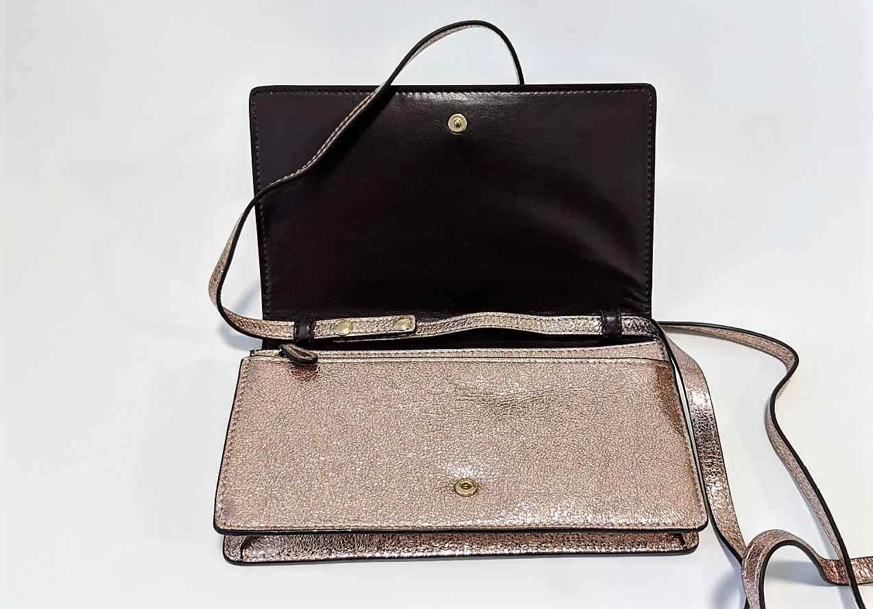 Coach Foldover Clutch Wallet Pebbled Leather Crossbody Bag F30256 (IM/Rose Gold)